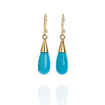 Turquoise 18 Kt Gold Vermeil Throat Chakra Earrings