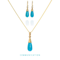 Turquoise 18 Kt Gold Vermeil Throat Chakra Droplet Necklace & Earrings Gift Set