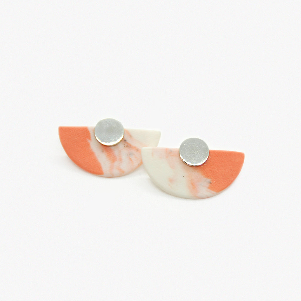 Coral Milky Way Half-moon Studs