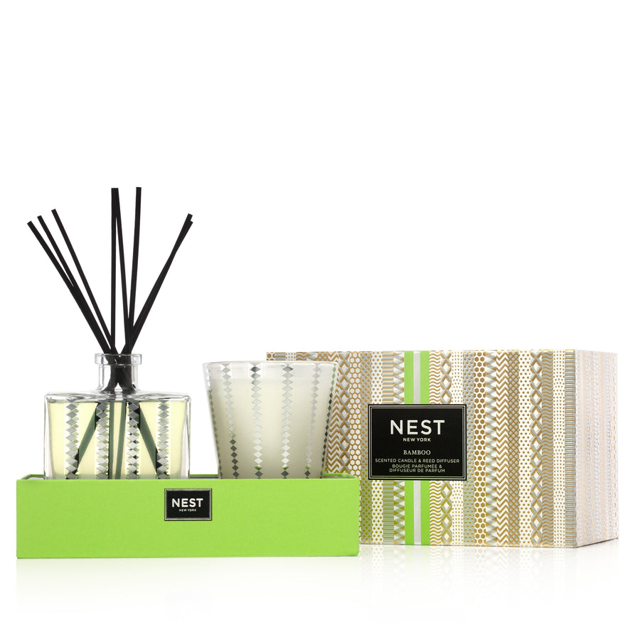 Bamboo Candle and Diffuser Set