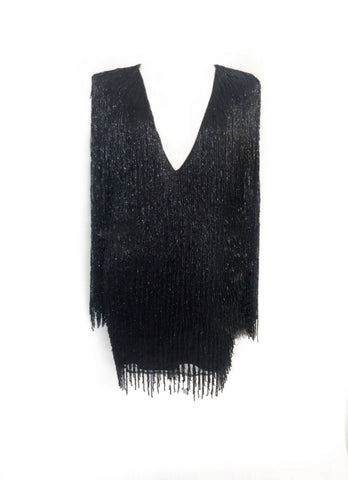 Black Beaded Fringe Dress