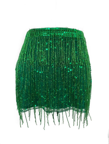 Green Fringe High Waist Skirt