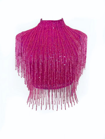Pink Fringe Crop Top