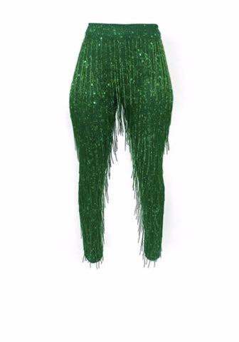 Green Fringe Pants