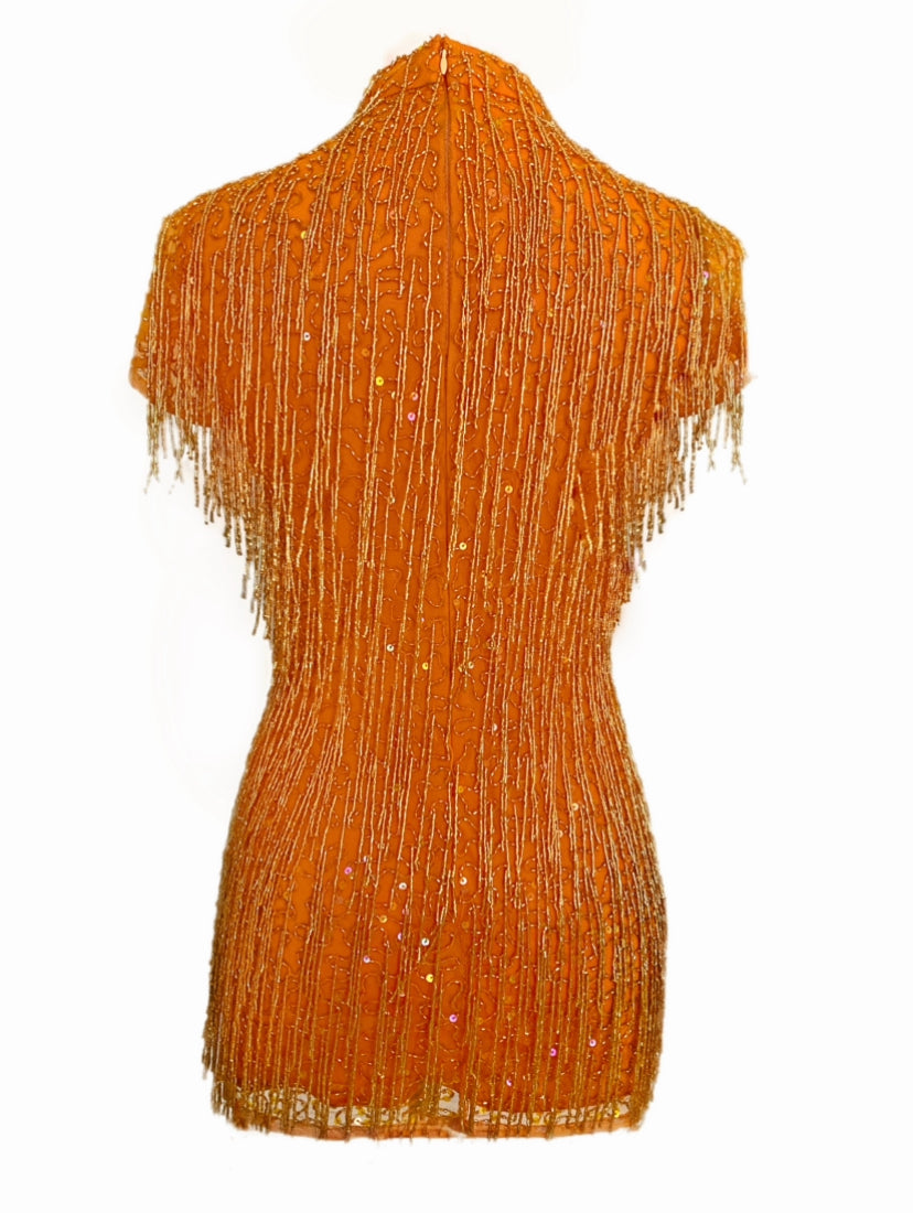 Orange Fringe Dress