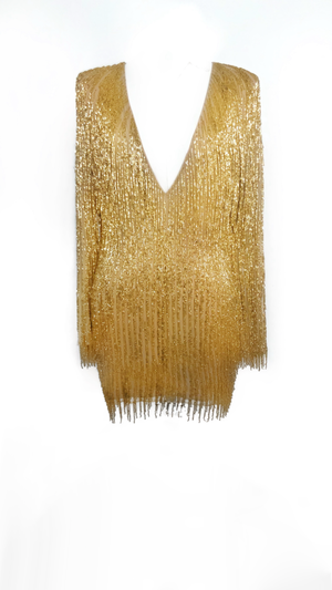 Gold Beaded Fringed Dress