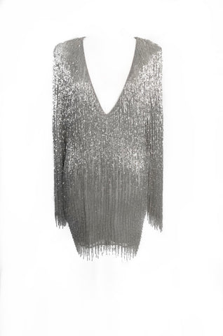 Silver Beaded Fringed Dress