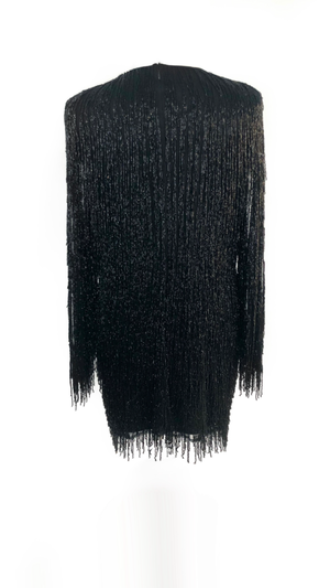 Black Beaded Fringed Dress