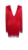 Red Beaded Fringed Dress