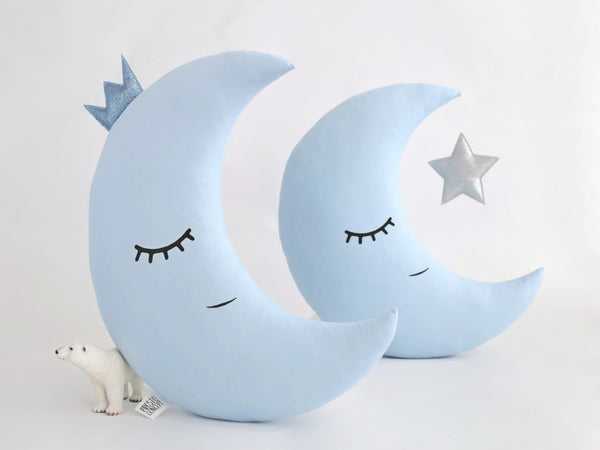 Baby Boy Nursery Cushion Moon Pillow With Crown - blue kids throw pillow toddler boy room decor moon and star cushions baby boy shower gift