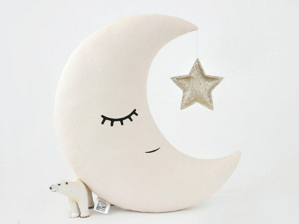 Beige Moon Pillow, neutral gender nursery, moon cushion with crown, unisex toddler room decor, kids pillow, twinkle twinkle little star nursery