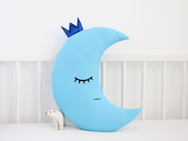 Baby Boy Nursery Cushion, Moon Pillow With Crown, blue kids throw pillow, toddler boy room decor, moon and star cushions, baby boy shower gift
