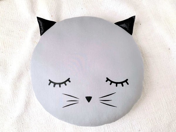 Cat Pillow, Baby Girl Nursery Decor, Gray Kids Pillow, Teepee Cushion, kids bedroom accessories