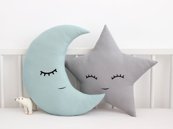 Kids Pillow Set Moon And Star, Dusty Mint Crescent Moon Cushion, Gray Star Cushion, baby boy nursery decor, toddler throw cushion, stern und mond kissen, coussin lune et etoile