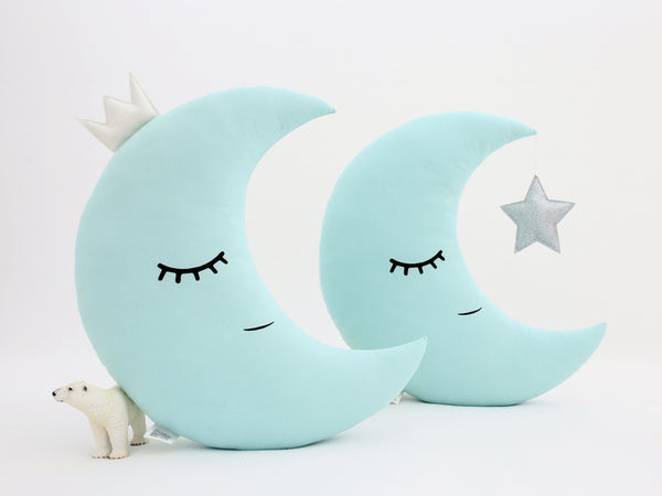 Mint Crescent Moon Cushion