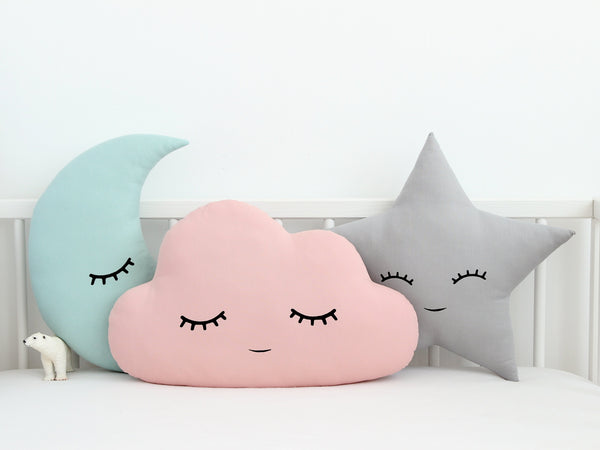 Moon Cloud and Star Kids Pillows, girl nursery cushions, baby boy nursery decor, toddler pillows, cloud moon star cushions pink mint gray
