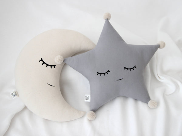 Star and Moon Nursery Birth Stats Cushion Gender Neutral Baby Gift Star and Moon Pillow Birth Stat Pillow Gender Neutral Nursery
