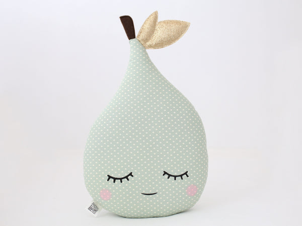 Pear Pillow - Green Mint Polka Dot, Pear Cushion, Fruit Toy, Kids Pillow, Handmade Decorative Pillow