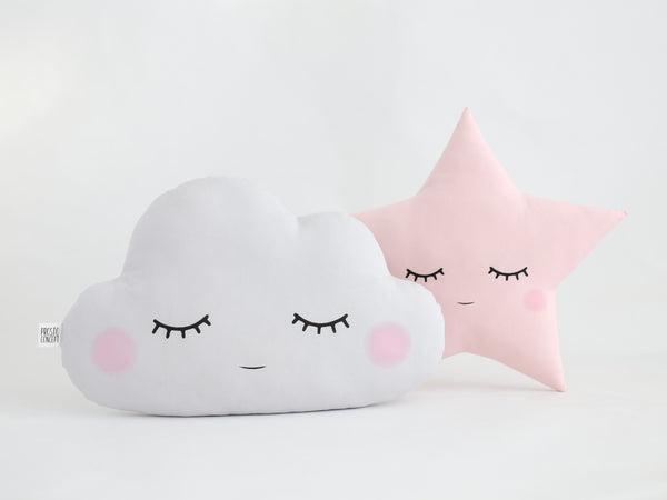 Sleeping Cloud And Star Pillows, Cloud Cushion, star shaped pillow, pink and gray baby girl nursery pillow set, cloud plush, girl room decor idea