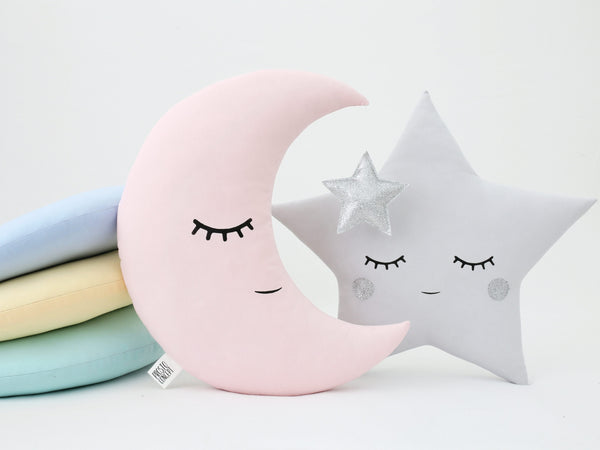 Set Pink Moon And Gray Star Pillows Baby Girl Nursery Cushion Moon Pillow Star Cushion Silver - Twinkle Twinkle Little Star Baby Shower Gift