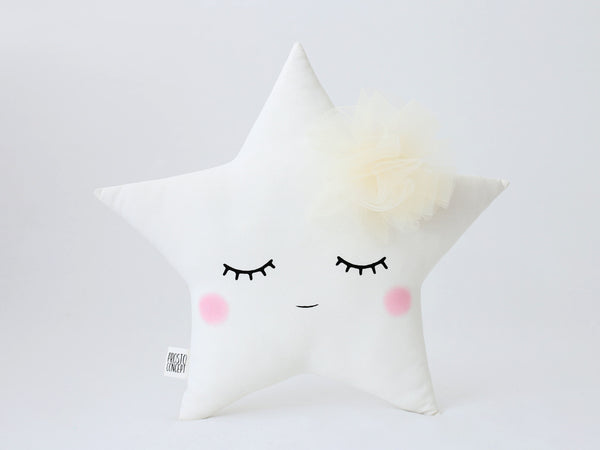 Sleeping Star Pillow Baby Girl Nursery Cushion Star With Tulle Flower girl room decor star plush toy star shaped pillow child stuffed star