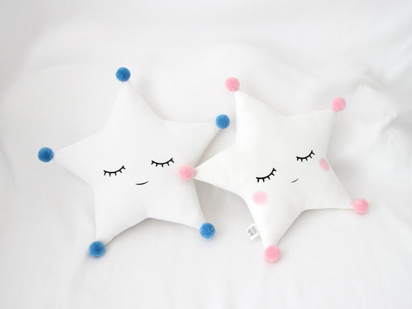 Sleeping with cheeks white star cushion with pompoms, baby boy nursery decor, baby crib pillow, toddler girl room accessories, twinkle twinkle little star nursery ideas