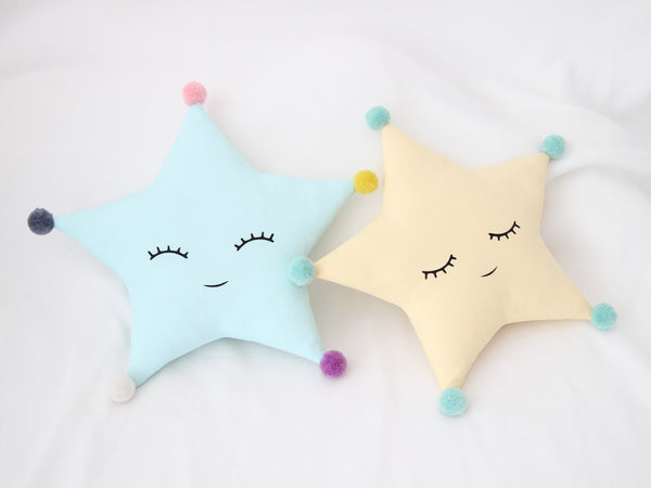 Star shaped kids cushion with pompoms, baby boy nursery decor, baby crib pillow, toddler girl room accessories, twinkle twinkle little star nursery ideas