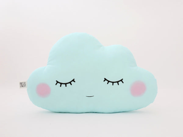Blushing blue mint cloud cushion