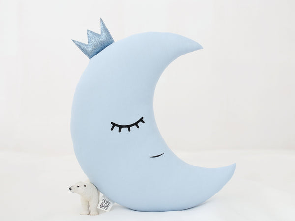 Baby Boy Nursery Decor, Moon Pillow, Moon Cushion, blue baby pillow, moon and star kids room decor, new baby gift, baby crib accessories