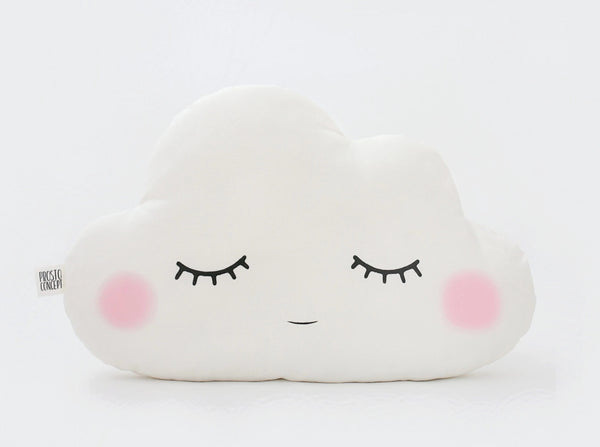 Sleeping white cloud pillow with cheeks, white cloud cushion, cloud nursery, white nursery, baby girl nursery, baby boy nursery, baby crib pillow