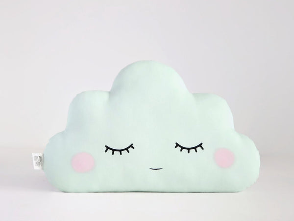 green mint cloud cushion with cheeks, pillow for nursery decor