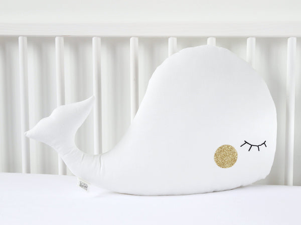 White and Gold Nursery Decor, White Whale Pillow, Whale Cushion, Whale Plush Toy, Baby Pillow, Kids Pillow, Whale Stuffed Toy, Throw Pillow