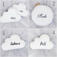 Embroidered name / text for baby pillow - cloud pillow, star pillow, full moon pillow. personalized pillow, name pillow, baby shower gift
