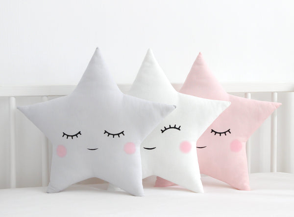 pastel star pillow, star cushion, gray nursery pillow, white children cushion, pink nursery decor