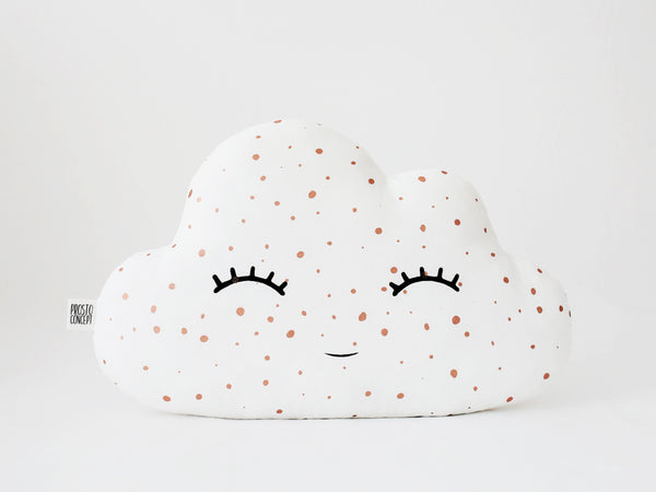 rose gold baby cushion, nursery pillow, white cloud pillow, coussin nuage blanc, baby kissen, wolkenkissen