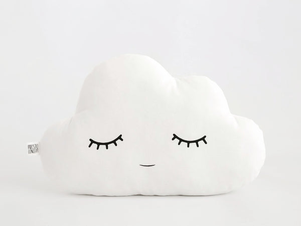 white sleeping cloud pillow, baby cushion, neutral gender nursery decor