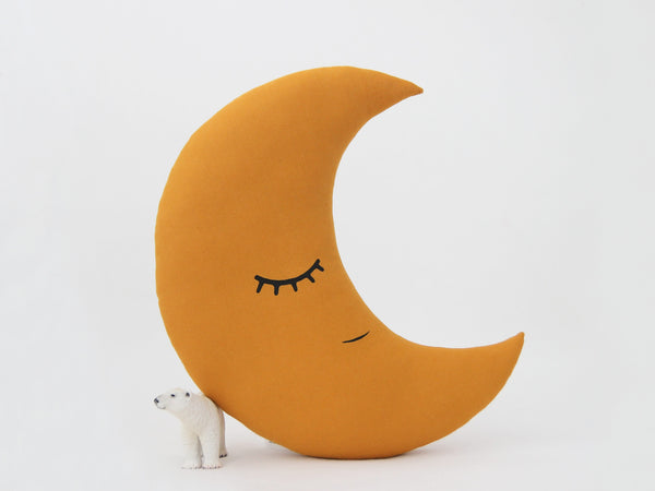Mustard Crescent Moon Pillow With Crown, Childrens Cushion, Kids Pillow, Mustard Nursery Decor, Baby Room Accessories