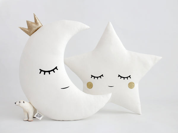 white and gold baby pillows, moon cushion with crown, star cushion with sparkly cheeks