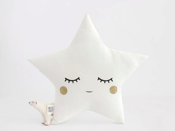 sleepy star cushion with gold cheeks, white nursery decor pillow