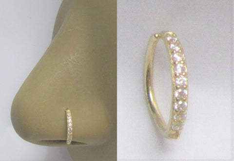 14K Yellow Gold Seamless Diamond Gem Crystal Line Small Nose Thin Hoop 20 gauge 20