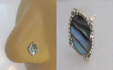 Sterling Silver Abalone Shell Nose Bent L Shape Stud Pin Post 20 gauge