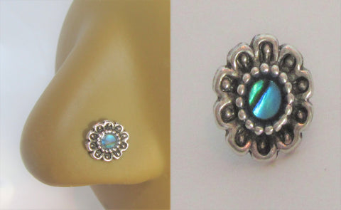 Sterling Silver Abalone Shell Flower Nose Bent L Shape Stud Pin Post 20 gauge