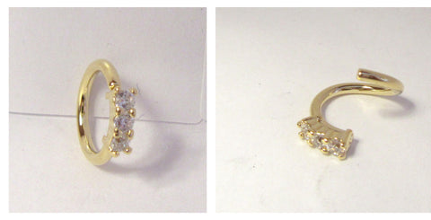 18k Gold Plated 3 Clear Crystals Cartilage Hoop Ring Seamless 16 gauge 16g 8 mm - I Love My Piercings!