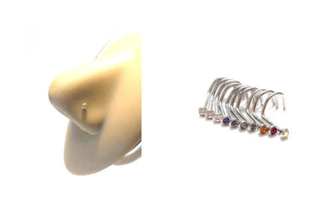 10 Piece Surgical Steel Crystal CZ Nose Screws Studs Cork Curl Twist 20 gauge - I Love My Piercings!