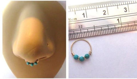 10K Yellow Gold Turquoise Beaded Septum Hoop Ring Thinner 20 gauge 20g 8 mm - I Love My Piercings!