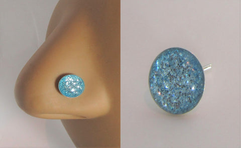 Sterling Silver Nose Stud Pin Ring Bent L Shape Sea Blue Glitter 20 gauge 20g