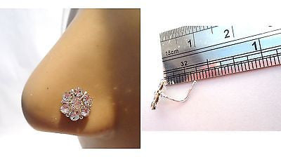 Sterling Silver Crystal Snowflake L Shape Post Nose Ring Stud Pin 20 gauge 20g - I Love My Piercings!