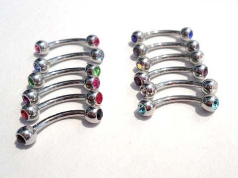 12 Pc Curved Barbell Crystal Balls Eyebrow Vertical Lip Rook Snug Rings 16 gauge - I Love My Piercings!
