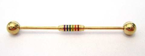 Gold Titanium Rasta Style Industrial Ear Straight Barbell 16 gauge 16g 38 mm - I Love My Piercings!
