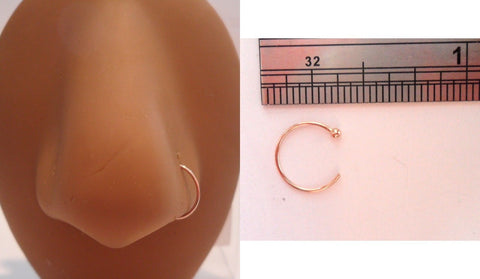 10K Rose Gold Not Plated Thin Nose Open Small Hoop Jewelry 22 gauge 22g - I Love My Piercings!